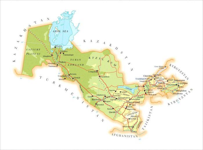 Топографическая карта Узбекистана