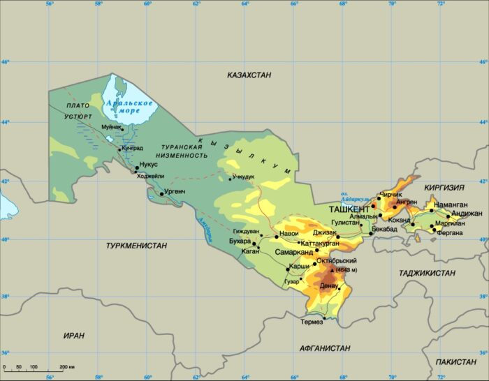 Физическая карта Узбекистана