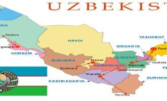 Карта Узбекистана с областями