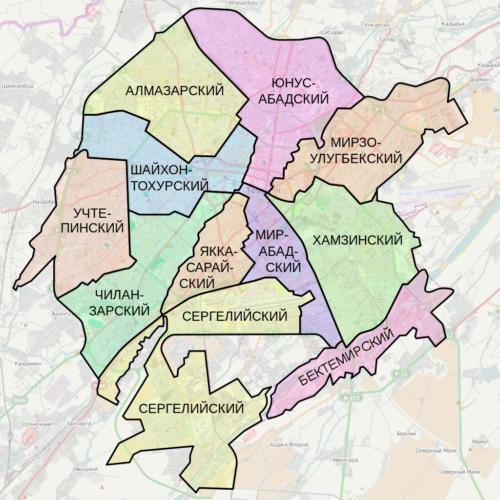 Карта Ташкента с районами